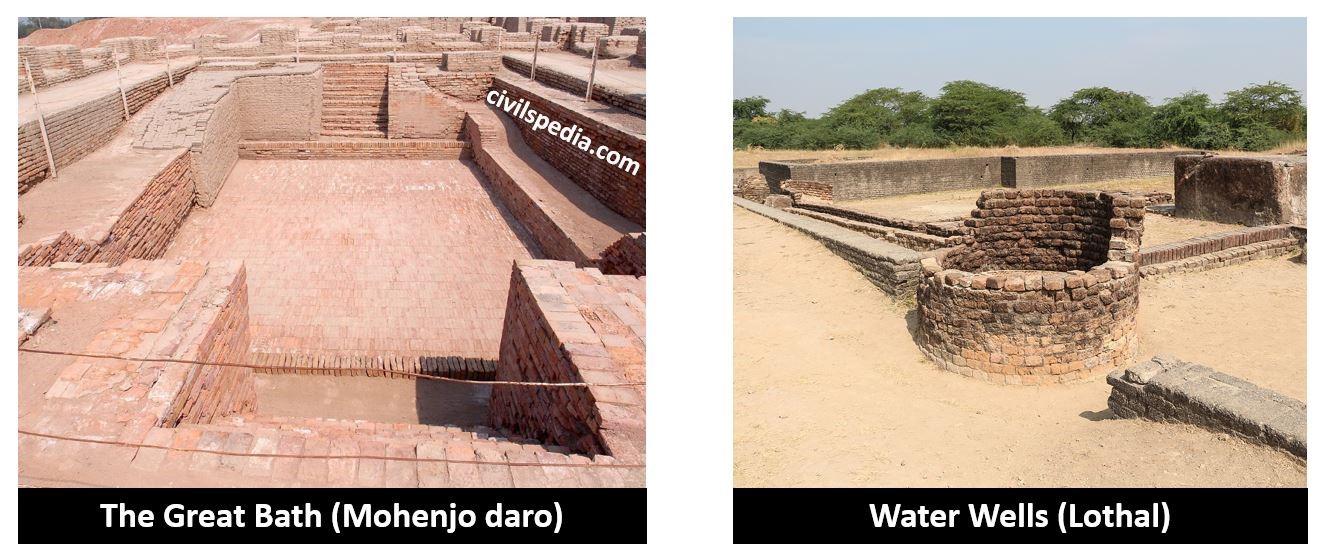 The Great Bath (Mohenjo daro)  Water Wells (Lothal)